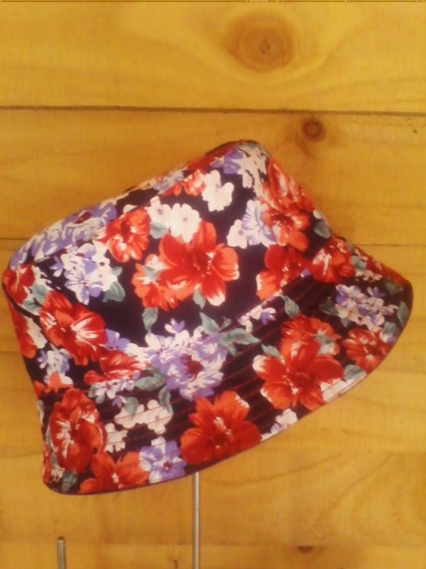 Red and purple floral reversible denim bucket hat