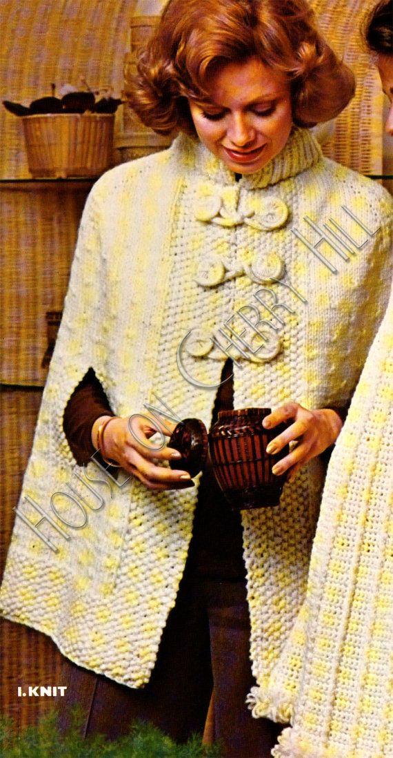 Vintage Kimono Pattern knit cape knitting by HouseonCherryHill, USD3.50 trico...