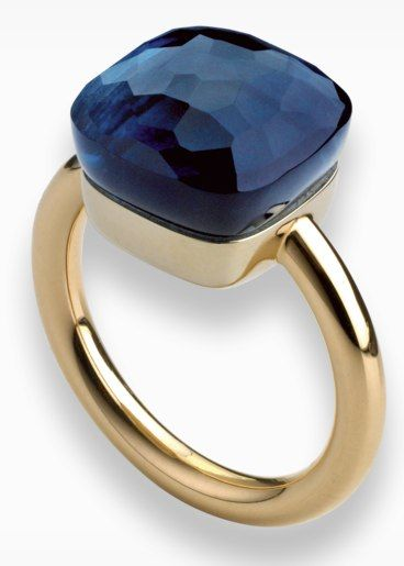 Pomellato - Nudo - gold ring with white gold setting and faceted blue london topaz.