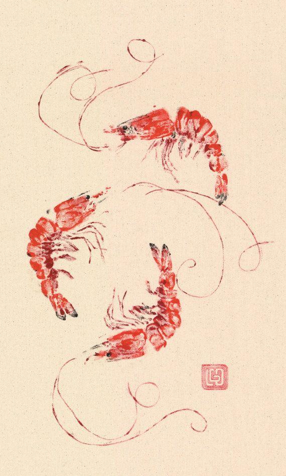 BAY SHRIMP Gyotaku Fish Print by LGDunston on Etsy