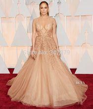 ph15460 Layers of romantic nude-hued tulle Elie Saab 2015 Oscars Jennifer Lopez abiti da sera lunghi evening dresses(China (Mainland))