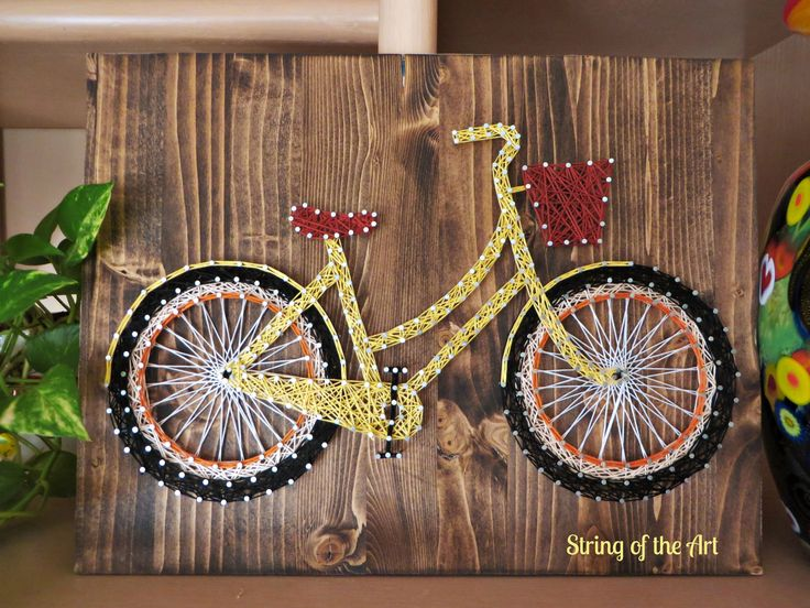 DIY String Art Kit - You can easily string this beautiful bicycle together! Yellow Bicycle, String Art Bike, DIY String Art Bike, Bicycle Home Decor, Bicycle Wall Decor.  This kit comes with a HAND sanded and HAND stained pine wood board, highest quality embroidery floss, easy to follow instructions, and a pattern template.  Visit www.StringoftheArt.com to learn more about this decorative String Art Bicycle.
