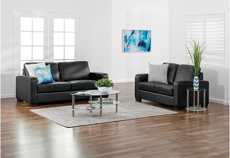 Sutton Leather-Look Sofa Pair | Super Amart