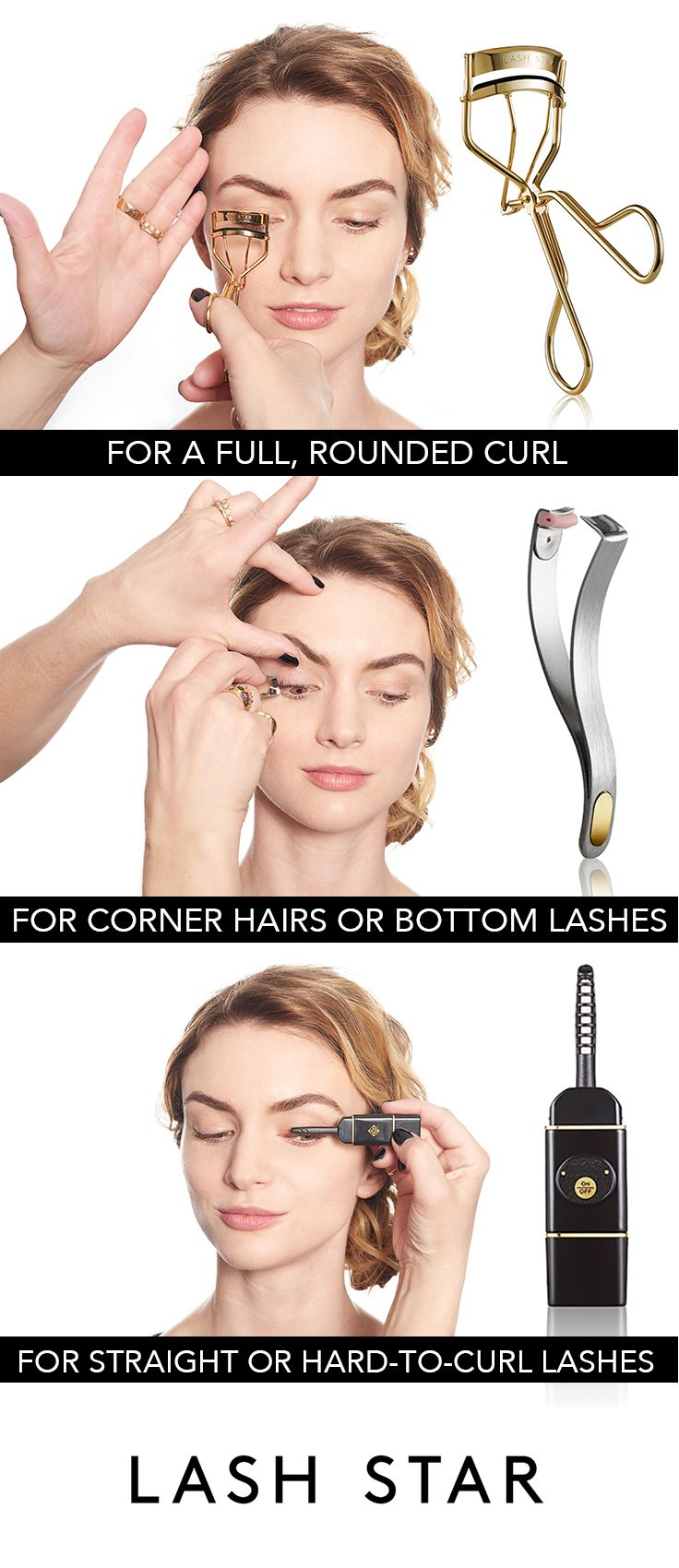 WHAT'S THE BEST @Lash Star Beauty EYELASH CURLER FOR YOU? Our 24k gold Supreme Lash Curler works on all lash types and gives a soft, full, rounded curl. Our stainless steel Individual Lash Curler is great for those pesky corner hairs and bottom lashes and our ceramic Heated Lash Styler is perfect for those with stick-straight, hard-to-curl lashes and it's even gentle enough for curling eyelash extensions.