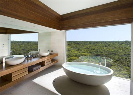 Australia's Kangaroo Island - an open bathroom commanding views to the horizon. #CheviotProducts likes this!