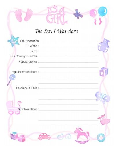 Free Printable Baby Book Scrapbook pages (8.5 x 11 and 12x12) Save this page in a decorative Baby Time Capsule from www.timecapsule.com