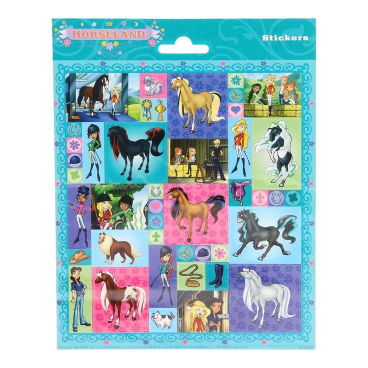 Creëer je eigen paardenwereld met dit stickervel van paarden uit Horseland. Plak de stickers van de paarden op zelfgemaakte tekeningen of vrolijk je agenda er mee op. Op het vel vind je 45 stickers in verschillende formaten. Afmeting: stickervel 20 x 16 cm - Stickervel Paarden