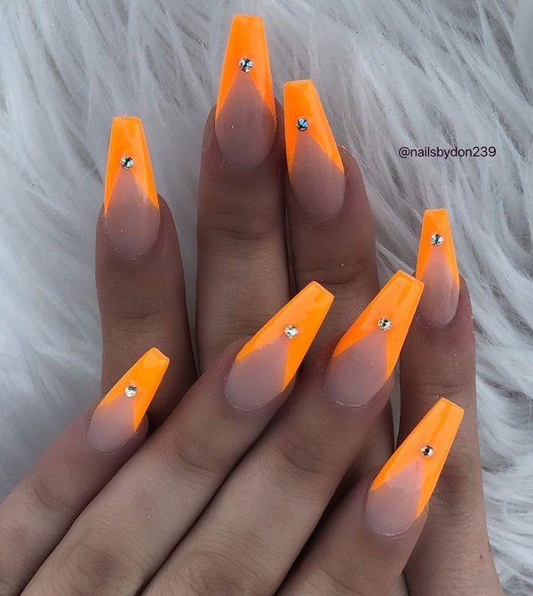 50 Coffin Nail Art Ideas Cuded Maroon Nails Orange Nails Coffin Nails Designs