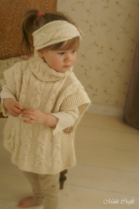 KNITTING PATTERN cable poncho Robyn toddler child by MukiCrafts