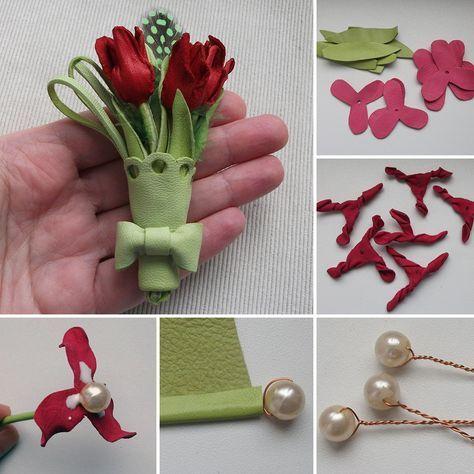 How to make leather buttonhole bouquet | Делаем из кожи весеннюю брошь-бутоньерку с тюльпанчиками
