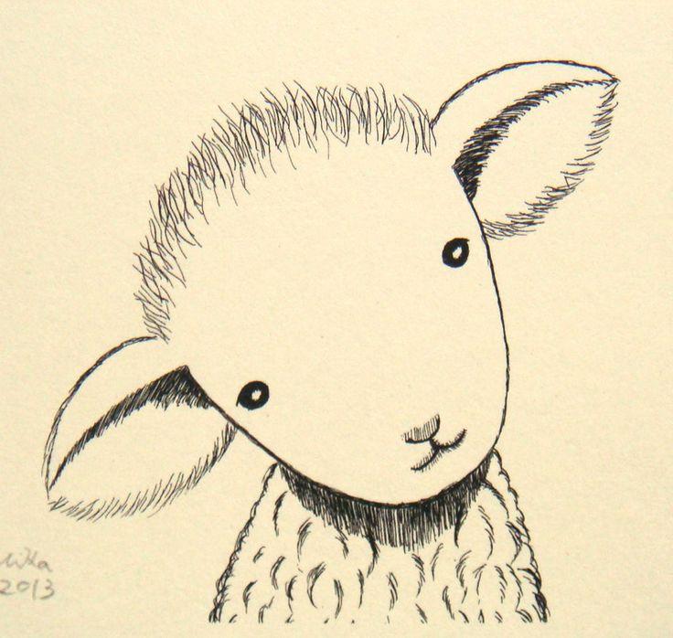 Nursery Art Print Lamb Sheep Ink Drawing Cute Lamb ...