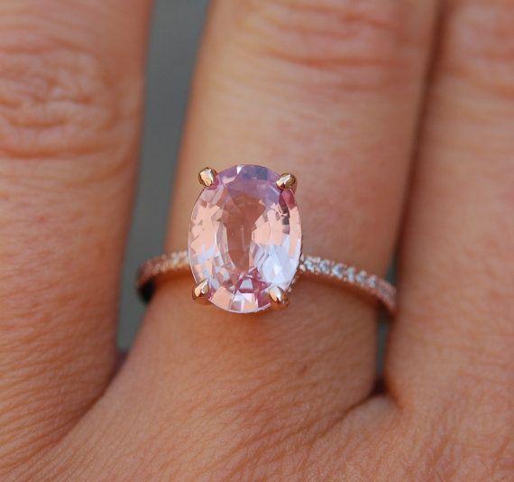 Blake Lively ring Peach Pink Sapphire Engagement by EidelPrecious