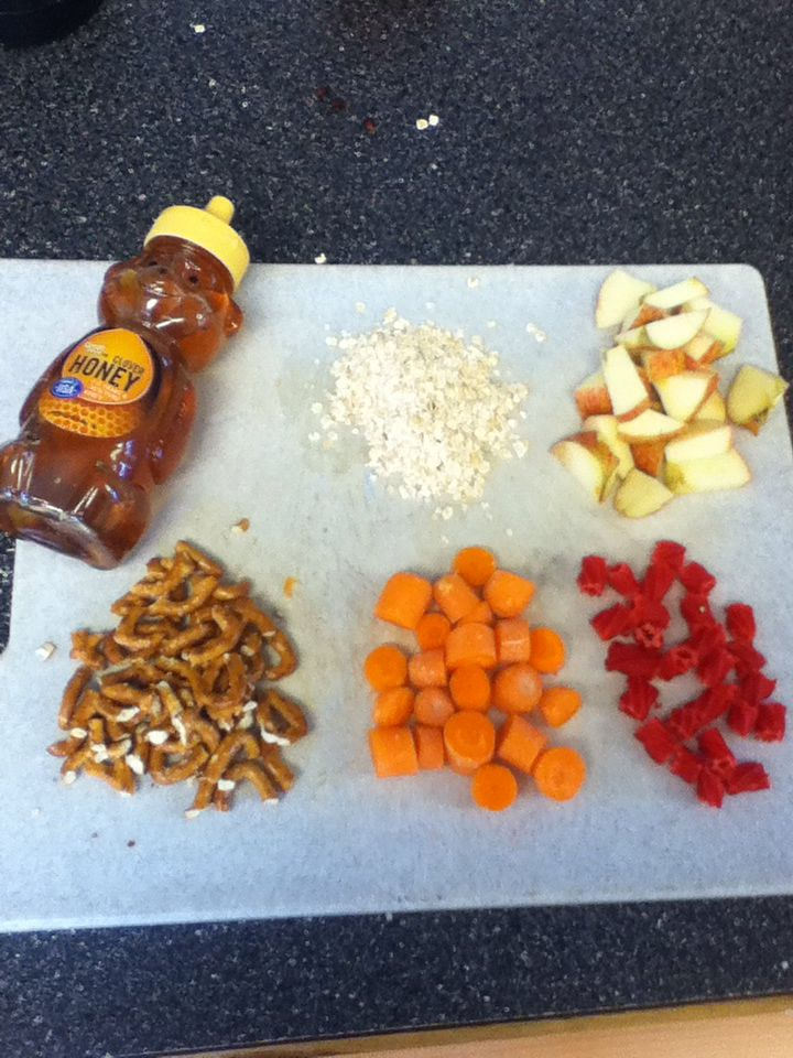 DIY horse approved treats: mix ingredients in picture (1/2 cup oatmeal, 1/2apple,handful of pretzels, handful of baby carrots, 2 licorice sticks) with 1 cup water, drizzle genorus amount of honey, stir. Heat oven to 350* and bake 5 min. Let stand 20 minutes. And your done! My horse loves these so much, its a great treat to give once and a while. Hope you enjoy!