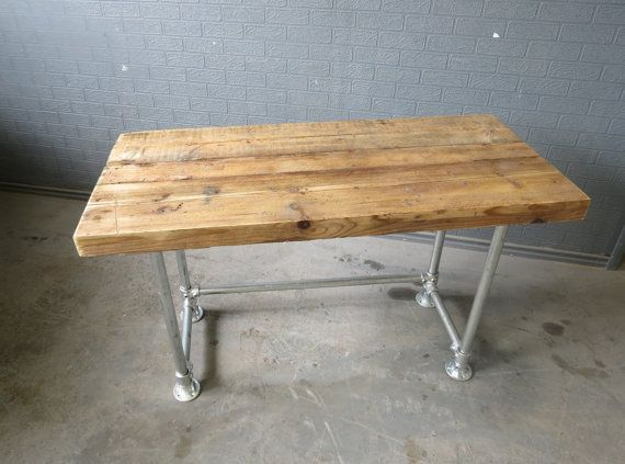 Reclaimed Industrial Chic Custom Made Scaffold Pipe Desk Unit Furniture Solid Wood Metal.Bar Cafe Restaurant Steel Made to Measure