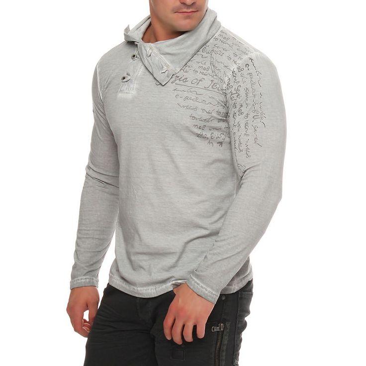Tazzio Herren Sweatshirt Hoodie Longsleeve Langarm Polo Hemd Pullover Slim Grey