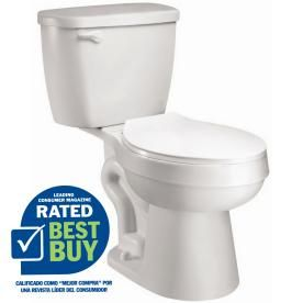 $99.00 AquaSource White 1.28 GPF High Efficiency WaterSense Elongated 2-Piece Toilet Item #: 98923 |  Model #: AT1203-00 •EPA WaterSense certified, high-efficiency 1.28 GPF - saves water and money.  Depth (Inches)29.9  Width (Inches)18.5 Assembled Height (Inches)32.25