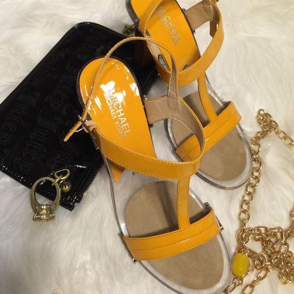 "Authentic Michael Kors Glass Mustard Shoes MICHAEL KORS Patent Leather. Glass Bottom Slingback Heels. 4"" heels. NWOT MICHAEL Michael Kors Shoes Sandals"