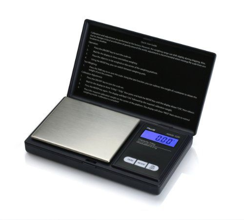 American Weigh Signature Series Black AWS-100-BLK Digital Pocket Scale, 1000 by 0.01 G - American Weigh Signature Series Black AWS-100-BLK Digital Pocket Scale, 1000 by 0.01 G  List Price: $29.95   Weighs up to 100 grams in 0.01 gram increments The backlit LCD display helps make the numbers viewable and easy to read Flip-open lid protects the delicate weighing surface Powered by 2 AAA batteries (included) Backed by a powerful 10 year warranty    List Price: $29.95 Your Price: