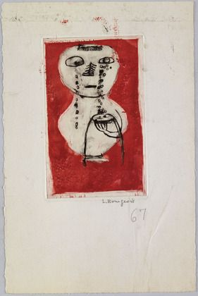 Louise Bourgeois. Vase of Tears, state III,variant.  Etching, drypoint, engraving and monotype, 1945.