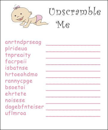 Baby Games To Print Free Printable Baby Shower Games Word