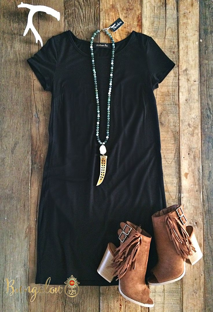 Black t shirt goes with - Free Bird Dress Oatmeal