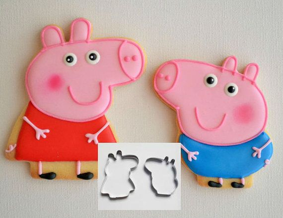 Set of 2 Peppa Pig Cookie Cutter Peppa and George by ArtSeaFartsy