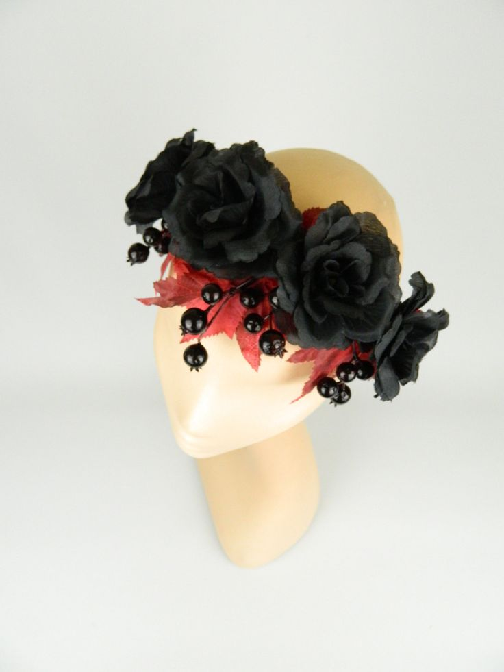 Flower Crown Garland Statement Headpiece with Black Roses, Berries and Leaves, Gothic, Woodland, Burlesque, Rockabilly Bridal Hair Accessory by ElleSantos on Etsy https://www.etsy.com/uk/listing/473587026/flower-crown-garland-statement-headpiece
