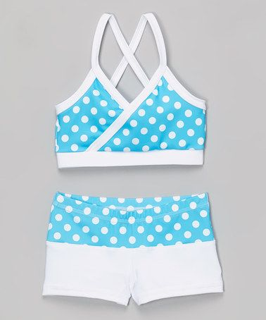Another great find on #zulily! Turquoise Polka Dot Mock-Wrap Top & Shorts - Toddler & Girls by Niva-Miche Clothes #zulilyfinds