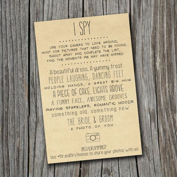 I Spy Wedding Game - Printable, Custom - DIY Wedding - Vintage, Photo Challenge (Wedding Design #20) on Etsy, $12.00