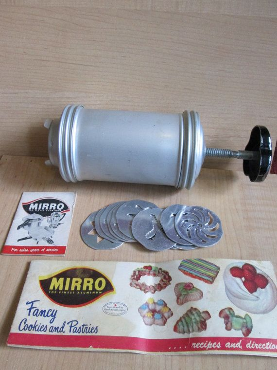 Vintage MIrro Aluminum Cookie Press With by suburbantreasure. I have one of these--bought it at Woolworths.