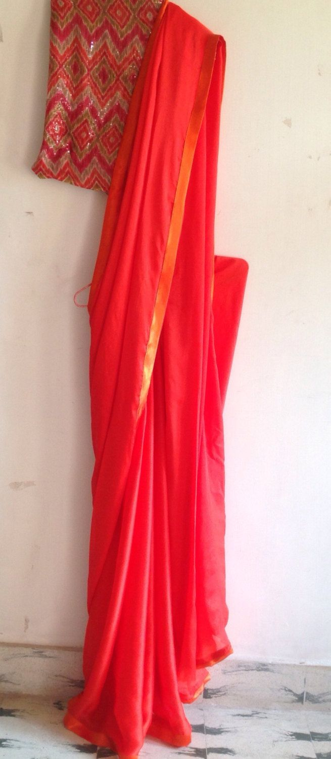 red chiffon saree with orange border and ikat sequin unstitched blouse by GiaExquisiteIndian on Etsy