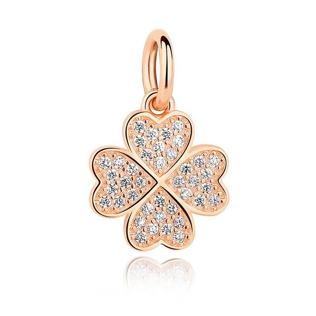 Four-Leaf Clover Pendant Charms l Bracelet & necklace 925 Sterling Silver A True Symbol Of Lucky In Love