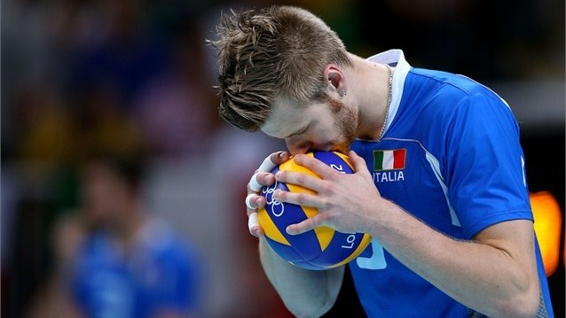 Ivan Zaytsev of Italy take a moment to think in the Men's Volleyball Semifinals against Brazil during on Day 14 of the London 2012 Olympic Games at Earls Court.