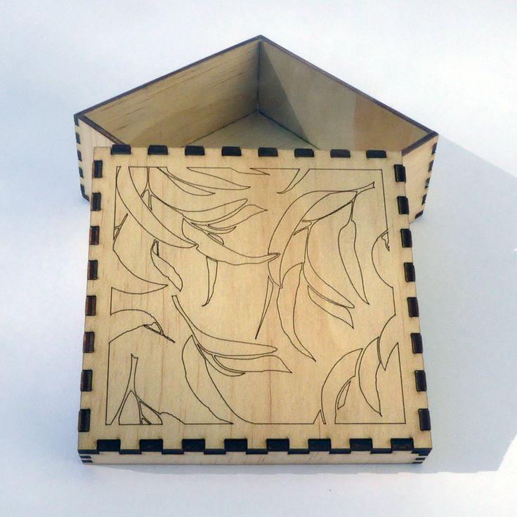Plywood laser cut box kit - self assembly with Gum Shadows top design. by KarenSmithDesigns on Etsy