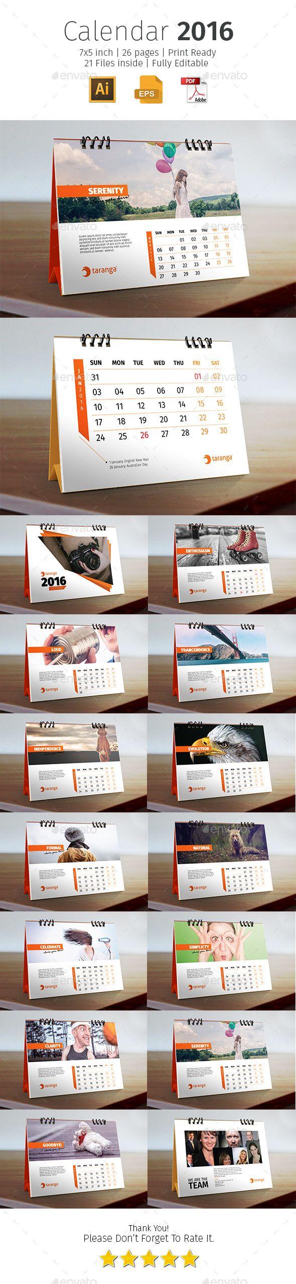 2016 Corporate Desk Calendar Template #design Download…