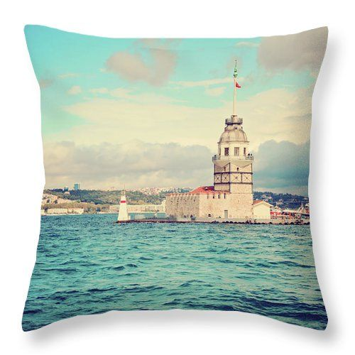 Kiz Kulesi - Famous Tower In Istanbul By Svetlana Yelkovan Throw Pillow #SvetlanaYelkovanFineArtPhotography #pillow  #ArtForHome #FineArtPrints #Istanbul #sea