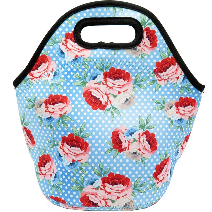 Neoprene Lunch Bag - Insulated Lunch Tote Bags (Flowers & Dots Design)
