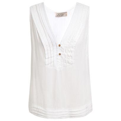Regata Garnús decote plissado - off white