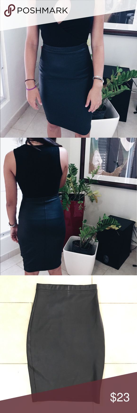 Bar III faux leather pencil skirt Used twice, excellent conditions! Leather look imitation. 95% polyester, 5% spandex. Bar III Skirts Pencil