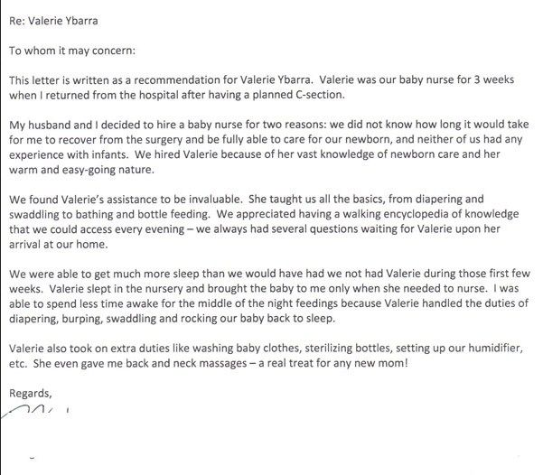 Babysitting Reference Letter Sample