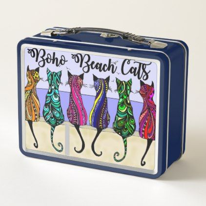 Coastal Blue Boho Beach Cats Metal Lunch Box - kitchen gifts diy ideas decor special unique individual customized