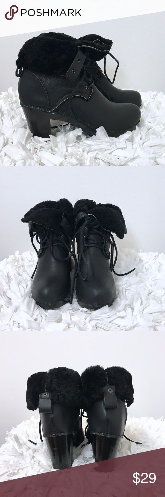 Genuine Leather Real fur ankle booties Sz 39 9 Black leather ankle boots. Genuine Fur and leather. Very warm. Great condition. Lined all through the shoe and the soles. I do not see a brand anywhere , but they are amazingly made. Sz 9. none branded  Shoes Ankle Boots & Booties