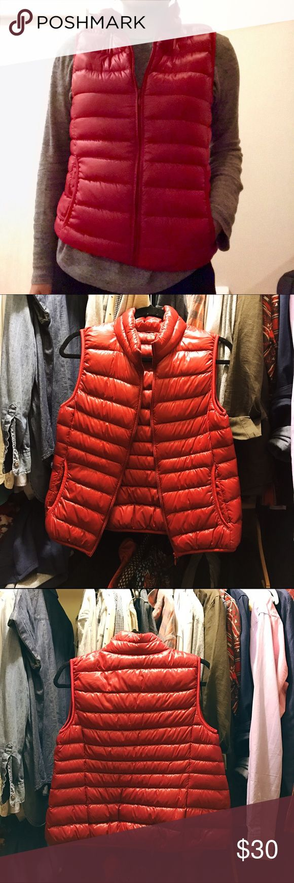 Ultralight down Uniqlo vest Incredibly light vest filled with down. Great for trips as it can roll and fit in backpacks and purses easily. A thin but warm layer. A sort of matte or satin finish. Used a few times, like new. Uniqlo Jackets & Coats Vests