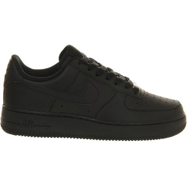 Nike Air Force 1 leather trainers ($55) ❤ liked on Polyvore featuring shoes, sneakers, low profile sneakers, sport shoes, perforated sneakers, leather low top sneakers and nike sneakers