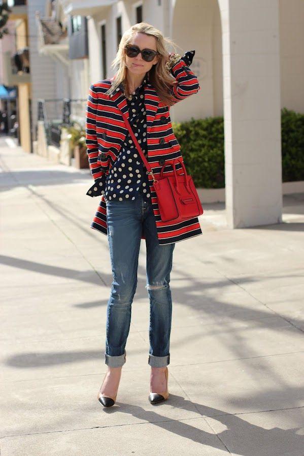 mixing patterns: Atlantic Pacific, Polka Dots, Fashion, Pattern, Street Style, Outfit, Stripes, Polkadots, Atlanticpacific