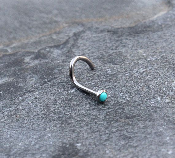 Titanium (6AL-4V-ELI) screw nose ring with Press set Turquoise stone Gauge 18G 1.0MM  Length 6mm 1/4 (exclude bottom twist part) Stone 2.3mm Also