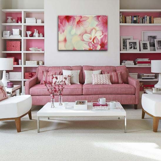 pinkCherries Blossoms, Pink Sofa, White Living, Livingroom, Interiors Design, Living Room, Pink Room, Studios Couch,  Day Beds