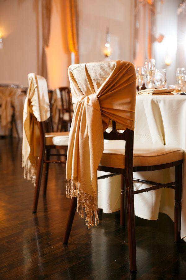 Elegant Chair Wrap|{Wine Red & Gold} Elegant Fall Lawn Club Wedding|Photographer: Candace Jeffery Photography