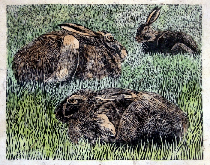 Lisa Hooper - Hares At Stairhaven-Linocut