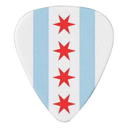 Patriotic guitar pick with Flag of Chicago - home gifts ideas decor special unique custom individual customized individualized